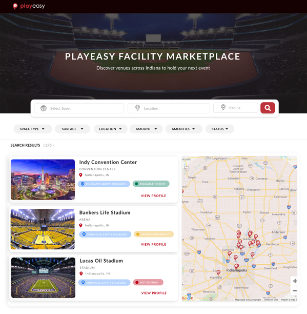 Playeasy Facility Marketplace Indy